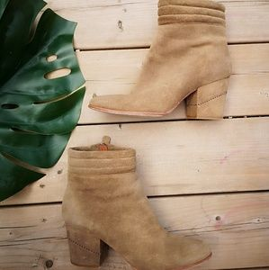 Rebecca Minkoff suede ankle booties nude 8 EUC